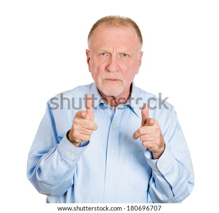 Closeup portrait of serious, staring senior mature man pointing at you with two index finger hands sign gesture, isolated white background. Negative human emotion facial expression feelings, symbols - stock photo