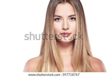 Closeup portrait of sexy whiteheaded young woman with beautiful blue eyes on white background - stock photo
