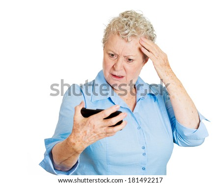 Closeup portrait of shocked funny looking woman, feeling head, surprised she is losing hair receding hairline, upset isolated on white background. Negative facial expression emotion, reaction. - stock photo