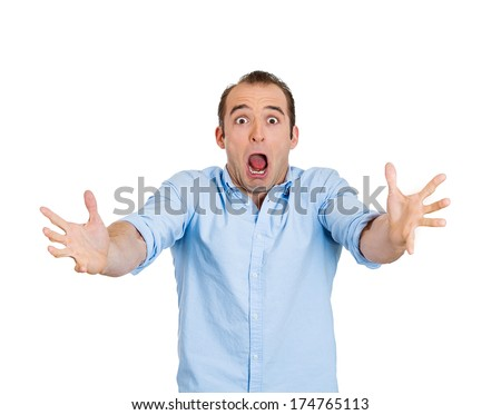 Closeup portrait of shocked, scared, frustrated business man, student, customer, screaming guy, funny looking person, isolated on white background. Human face expressions, emotions, attitude, reaction - stock photo