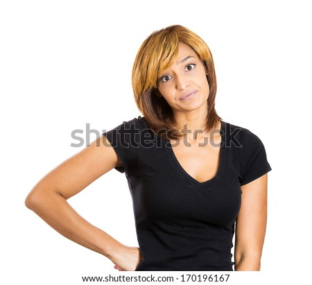 Closeup portrait of skeptical young woman looking suspicious and some disgust on his face, mixed with disapproval, isolated on white background. Negative human emotion, facial expressions, feelings - stock photo