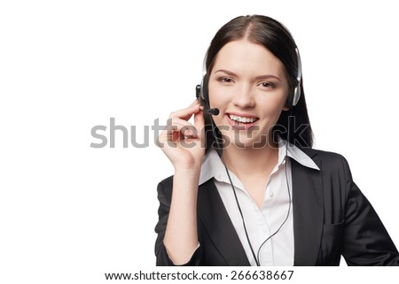 Closeup portrait of smiling attractive woman with headphone isolated against white background, with copy space - stock photo