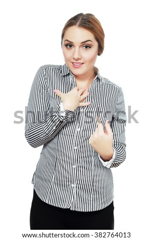 Closeup portrait of surprised, flirting young business woman student getting unexpected attention from man she likes asking you talking to, you mean me? Isolated on white background. Facial expression - stock photo