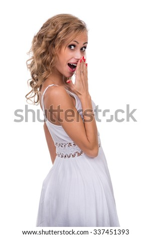 Closeup portrait of surprised young lady isolated on white studio shot with copyspace - stock photo