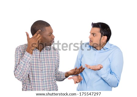 Closeup portrait of two grown mad men arguing, one asks are you crazy, other asks what did i do, isolated on white background. Negative emotion facial expression feelings, attitude, reaction. Conflict - stock photo