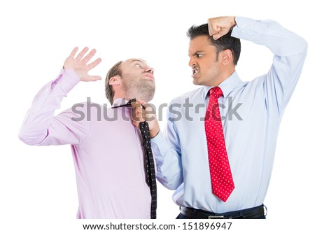 Closeup portrait of two guys, businessmen, a boss and his manager having a fight over contract issues, money, one guy punches, other falls back, isolated on white background. Aggressive behavior - stock photo