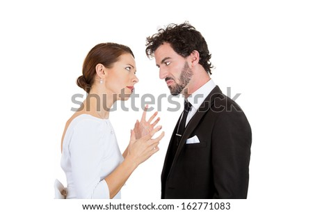 Closeup portrait of upset people, man and woman, angry, annoyed couple, blaming each other for problem, isolated on white background. Marriage difficulties concept, negative emotions, expressions - stock photo