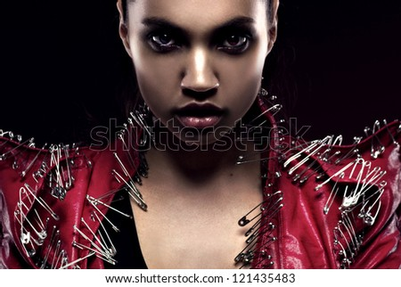 closeup portrait of woman in glam-rock style - stock photo