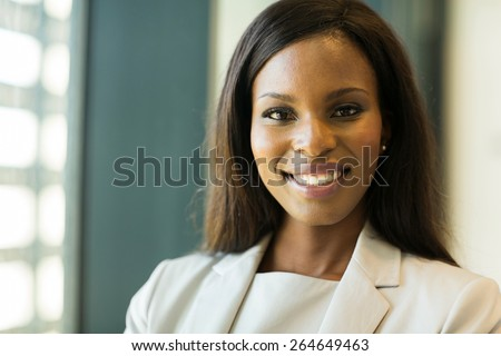 closeup portrait of young afro american businesswoman - stock photo