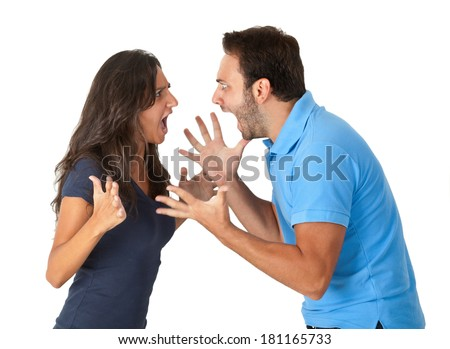 Closeup portrait of young angry couple, man, woman, screaming at each other. - stock photo