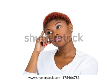 Closeup portrait of young business woman thinking daydreaming deeply about something finger on temple  looking away up, isolated on white background. Human emotion facial expression feelings, reaction - stock photo