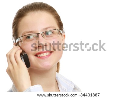Closeup portrait of young business woman using mobile phone on white background. Lots of copyspace - stock photo