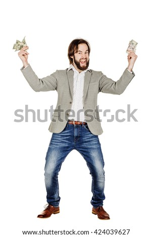 closeup portrait of young businessman holding and counts money dollar bills in hands, isolated on white background. emotion facial expression feeling. financial reward savings - stock photo