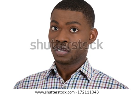 Closeup portrait of young guy, man, student looking stunned, shocked in disbelief mixed with skepticism, isolated on white background. Human emotions, facial expressions, feelings, body language - stock photo