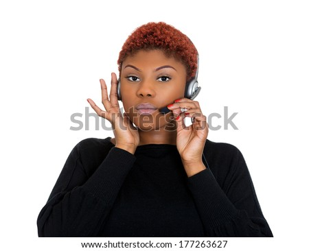 Closeup portrait of young happy successful woman customer service representative or call centre worker or operator or support staff speaking with head set, isolated on white background. - stock photo