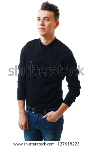 Closeup portrait of young man in black shirt isolated on white - stock photo