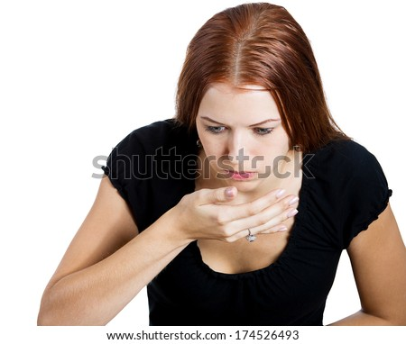 Closeup portrait of young unhappy, annoyed, sick woman about to chuck, throw up, retch barf, hurl isolated on white background. Negative emotions, feelings, facial expressions. Excessive drinking - stock photo