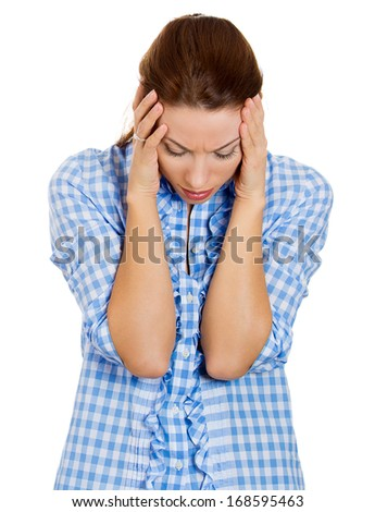 Closeup portrait of young, upset, sad depressed, worried, troubled brunette woman holding her head with both hands, isolated on white background. Human emotions, face expressions, feelings, perception - stock photo