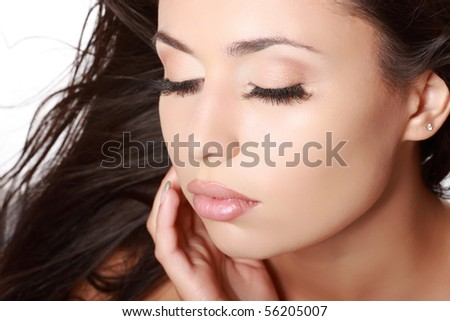 closeup portrait of young woman - stock photo