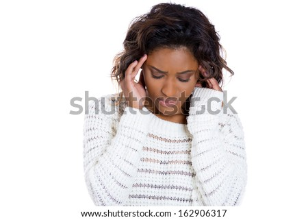 Closeup portrait of young woman thinking daydreaming deeply about something hand on head looking downwards, isolated on white background copy space to left.Negative human facial expression sign symbol - stock photo