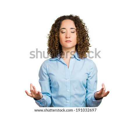 Closeup portrait peaceful young business woman relaxing, meditating, in zen mode, isolated white background. Positive human emotions, facial expressions, attitude, perception life, situation, symbols - stock photo