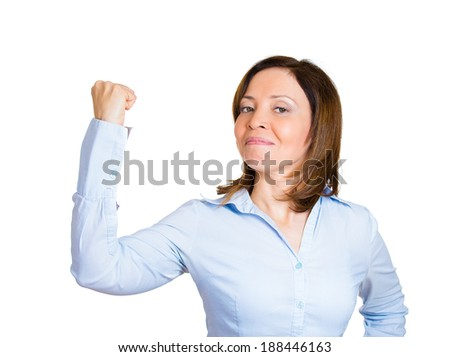 Closeup portrait, pretty middle aged model woman flexing muscles showing displaying her gun show, isolated white background. Positive emotion facial expression feelings, attitude, perception - stock photo