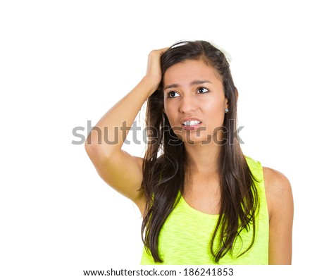 Closeup portrait, pretty woman, hand on head, stress, deep thought, thinking about problems, mistakes, isolated white background. Negative human emotion facial expression feeling. Body language  - stock photo