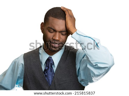 Closeup portrait sad depressed, stressed, alone, disappointed gloomy young man resting his head on hand, having suicidal thoughts isolated white background. Human emotions, facial expressions, feeling - stock photo
