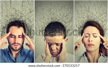 Closeup portrait sad young woman, man and child with worried stressed face expression and brain melting into lines question marks. Obsessive compulsive, adhd, anxiety disorders - stock photo