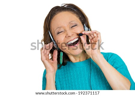 Closeup portrait senior elderly, happy successful woman customer service representative, call centre worker operator, support staff speaking with head set, laughing isolated white background. Reaction - stock photo