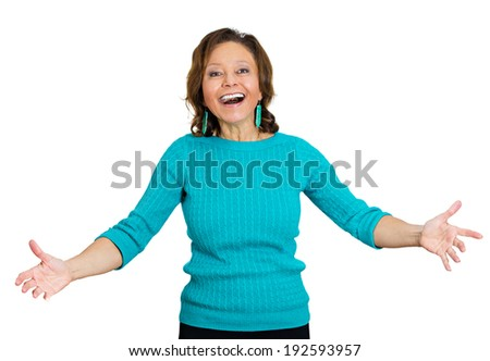 Closeup portrait senior, elderly, smiling, happy excited woman with raised up palms, arms at you offering something, hug isolated white background. Positive emotions, facial expressions, signs symbols - stock photo