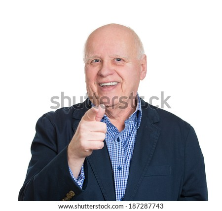 Closeup portrait senior mature business man laughing, pointing with finger at someone, something, isolated white background. Positive human face expression, emotion, feeling, attitude, reaction - stock photo