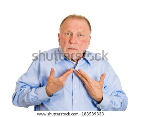 Closeup portrait, senior mature business man,  unexpectedly, asking question you talking to, mean me? Isolated on white background. Negative human emotions, facial expressions, feelings, reaction - stock photo