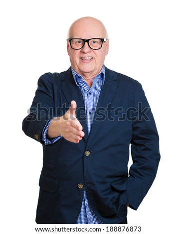 Closeup portrait, senior mature smiling nerd man in black glasses, giving extending arm for handshake, isolated white background. Positive human emotion facial expression feeling, attitude, perception - stock photo