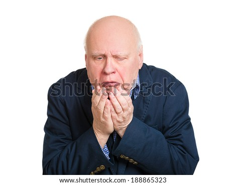 Closeup portrait, senior mature unhappy, annoyed, sick man about to chuck, throw up, retch barf, hurl isolated white background. Negative human emotion, feeling, facial expression. Excessive drinking - stock photo