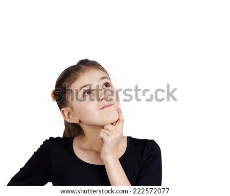 Closeup portrait, serious pensive little girl touching her cheek, thinking, daydreaming about something, looking up, isolated white background. Human face expressions, emotions, reaction, feelings - stock photo