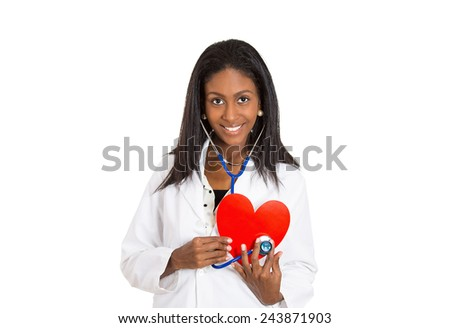 Closeup portrait smiling doctor cheerful health care professional, pharmacist, dentist, nurse cardiologist with stethoscope holding listening heart isolated white background. Positive face expression - stock photo