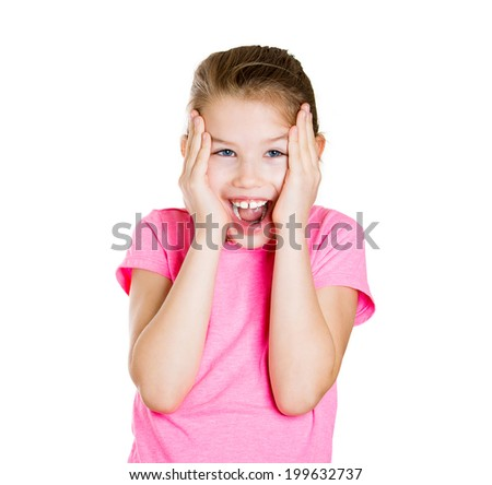 Closeup portrait surprised funny child, little girl with hands close to face isolated white background in studio shot. Positive human emotions, facial expressions, reaction, life perception, happiness - stock photo
