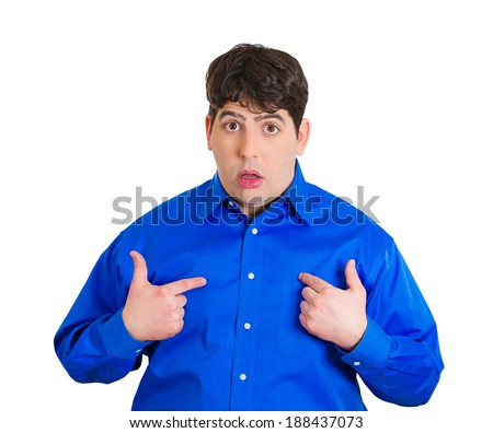 Closeup portrait, surprised, innocent, young man, unexpectedly, asking question you talking to, mean me? Isolated white background. Negative human emotions, facial expressions, feelings, reaction - stock photo