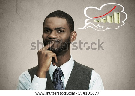 Closeup portrait thoughtful business man corporate executive thinking how make money increase profits looking puzzled isolated black background bubble filled growing up pile dollars. Facial expression - stock photo