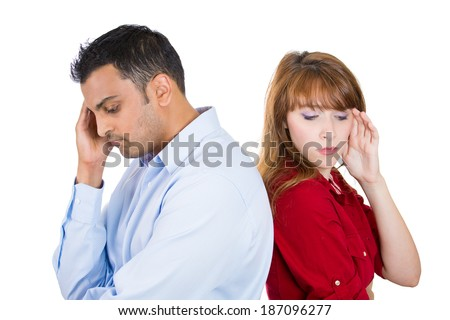 Closeup portrait, two people, couple woman and man, back to back, very sad, disappointed with each other, isolated white background. Marriage, relationship problems. Negative human emotions - stock photo