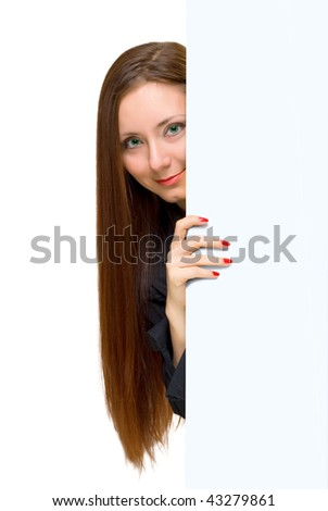 Closeup portrait   woman looking to focus with big white paper - stock photo