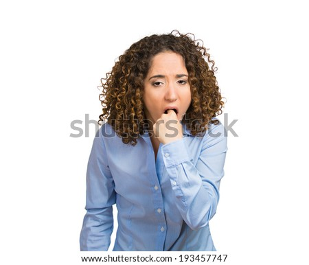 Closeup portrait young sick woman, annoyed frustrated, disgusted, fed up, sticking fingers in her throat, about to throw up. Case anorexia nervosa, Isolated white background. Face expressions, feeling - stock photo