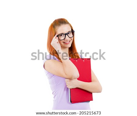 Closeup portrait young smart attractive, smart woman, with glasses, holding books, prepared, ready to take her test finals, isolated white background. Positive facial expressions, feelings, emotions. - stock photo