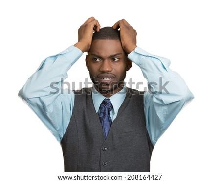 Closeup portrait, young, stressed, unhappy executive man with hands on temples, head about to explode, almost having nuclear meltdown, isolated white color background. Warhol style series picture - stock photo