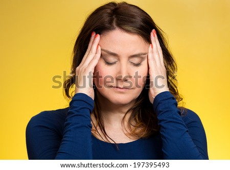 Closeup portrait young, stressed woman having so many thoughts, worried about future, thinking, isolated yellow background. Human facial expressions, feelings, emotions, attitude, life perception - stock photo