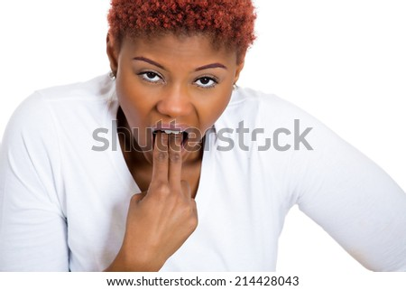 Closeup portrait young unhappy sick woman, sticking finger in throat, about to throw up, puke isolated white background. Negative emotion, facial expression. Excessive drinking, weight control issues - stock photo