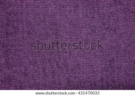 Closeup purple towel texture fabric for background and design with copy space for text or image. Dark edged. - stock photo