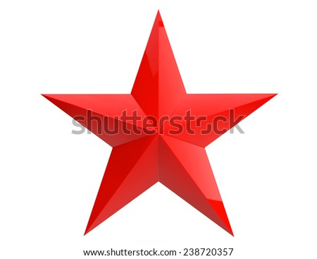 Closeup Red Star on a white background - stock photo