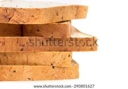 closeup rim of the cereal and black sesame bread stacking by selective focus - stock photo
